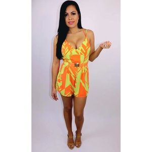 39cd73c02b6 New Park View Sunset - Lime   Orange Romper